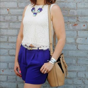 J. Crew retail pleated crepe shorts in cobalt blue